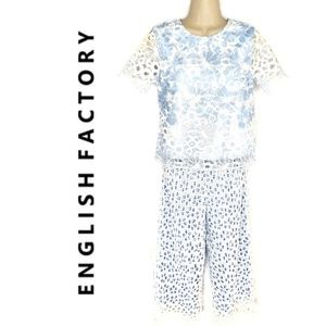 English Factory Eyelet Lace Gingham 2-piece Set XS